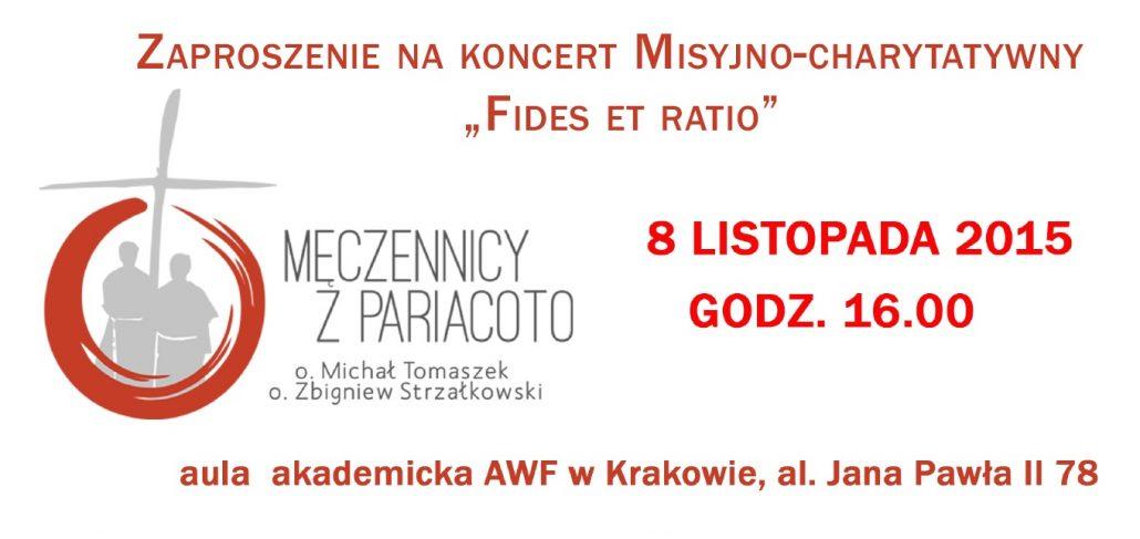 Zaproszenie na Koncert Misyjno-charytatywny 8 XI 2015