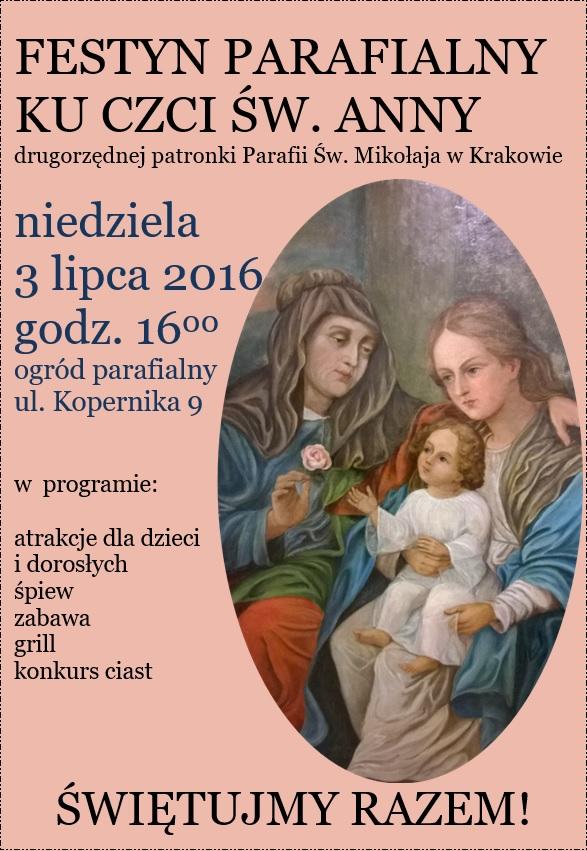 Zaproszenie na festyn parafialny ku czci św. Anny 3.07.2016 r.