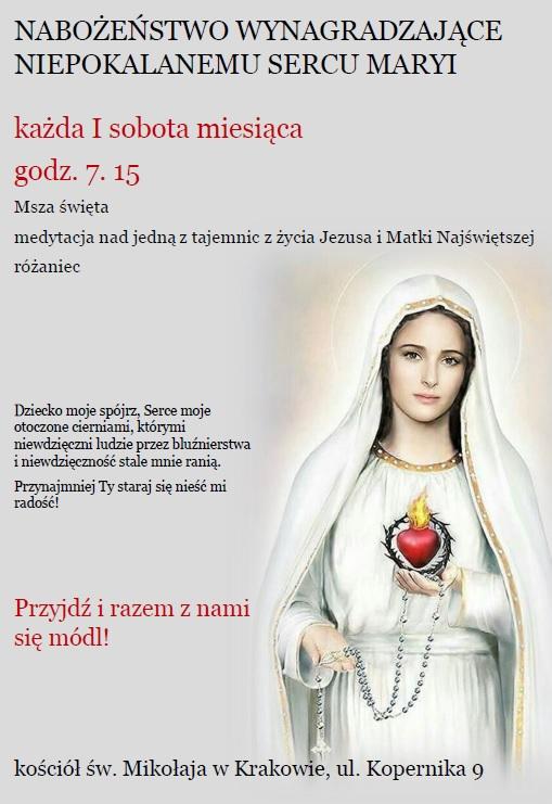 Pierwszosobotnie nabożeństwo wynagradzające Niepokalanemu Sercu NMP