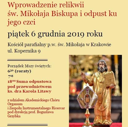 Parafia św. Mikołaja zaprasza na uroczystość odpustową 06.12.2019