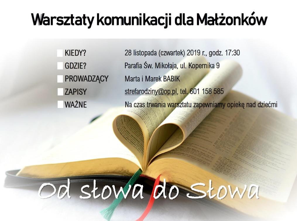 Warsztaty komunikacji dla małżonków przy Parafii św. Mikołaja – zaproszenie