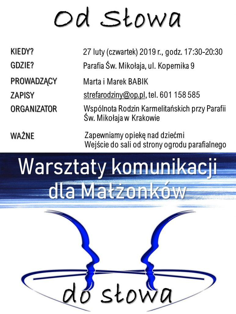Warsztaty komunikacji dla małżonków – 27.02.2020 r.